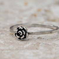 Rose Ring, Flower Ring, Sterling silver jewelry, stacking ring