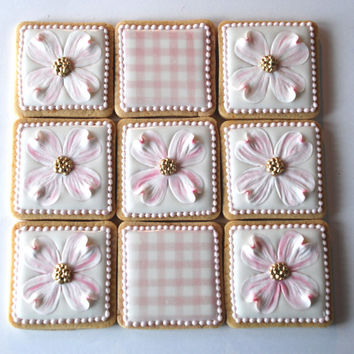 Elegnat White and Pink Dogwood Flower & Gingham Print Wedding Cookie Favors- One Dozen Decorated Sugar Cookies