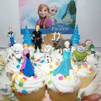 Buy Home Frozen Birthday Cake Decoration Toppers Figures Toy Playset Doll Set Anna Elsa Kristoff Olaf Hans Sven (As Picture)