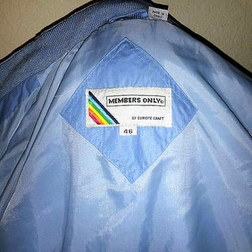 Vintage 80s Members Only men's Racer lite Blue Jacket Retro Hipster Cafe Coat Size 46