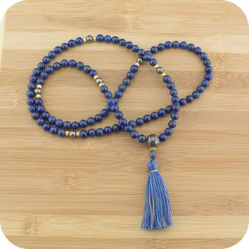Lapis Lazuli Meditation Mala with Golden Pyrite