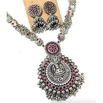 Goddess Lakshmi Pendant silver matte finish chain necklace and jhumka earring set with kemp stone - Design 2