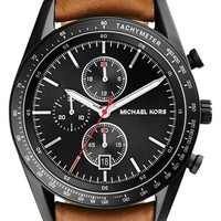 Men's Michael Kors 'Accelerator' Chronograph Leather Strap Watch, 42mm - Brown/ Black