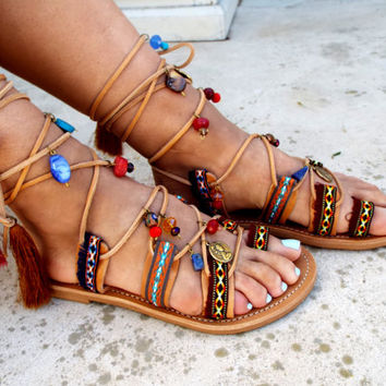"Ethnic Sandals, Leather Sandals, Gladiator sandals, Greek Sandals, ""Kalypso"" earth color Sandals, bohemian sandals, beaded sandals, boho"