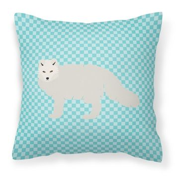 White Arctic Fox Blue Check Fabric Decorative Pillow BB8051PW1414
