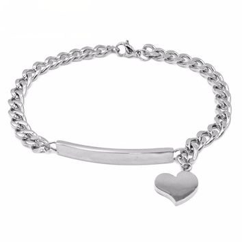 Personalized ID Heart Bracelet Bangles Stainless Steel Silver/Gold