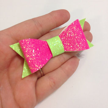 Neon Pink and Neon Green Glitter Canvas / Vinyl Hair Bow - 3 inches - Affordable and High Quality Hair Bows