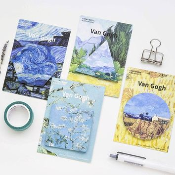 4 pcs Van Gogh memo pads and sticky notes The Starry night post it guestbook stickers Stationery Office School supplies F763