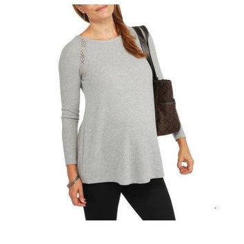 Faded Glory Maternity Fashion Thermal Tunic W/Lace Back, Grey Heather, XXL