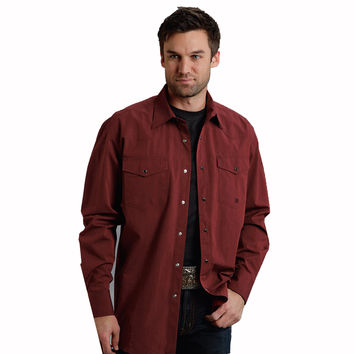 Roper Mens Brick Red Black Fill Poplin Long Sleeve Snap Western Shirt