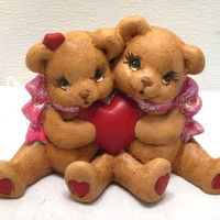 Valentines, Ceramic, Love, Teddy, Bear, Couple, Figurine, Pink, Sweetest, Day, Sweetheart, Wedding, I Love You, Anniversary, Be Mine, Gift