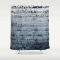 Sheet Music Shower Curtain -  blue sheet steel grey gray music fabric curtain singer, musician gift decor, bathroom  home