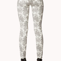 Abstract Floral Print Skinny Jeans