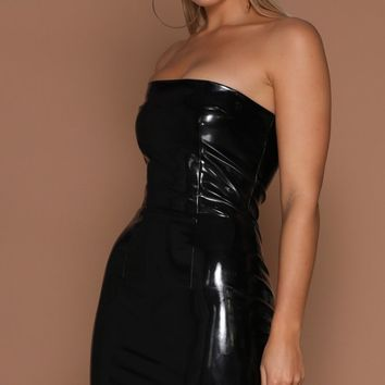 Club Night Black Latex Strapless Faux Leather Bodycon Mini Dress
