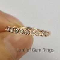Moissanite Wedding Band Half Eternity Anniversary Ring 14K Rose Gold Bezel Set Hand Crafted
