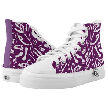 Dinosaur Bones (Purple) High-Top Sneakers