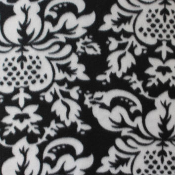 Blizzard Fleece Fabric-Black & White Damask at Joann.com