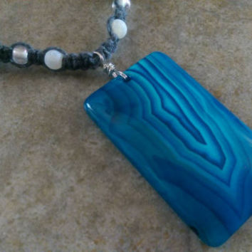 Stellar Blue Agate Hemp Necklace, Gemstones, Handmade, Hemp Jewelry, Gift for Her, Free  USA Shipping