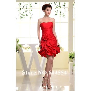 Custom Made Vestidos De Noche Red Taffeta Flowers Ruffles Mini Cocktail Dress Short Prom Dress