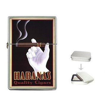 Vintage Cigar Poster on a FlipTop Cigarette Lighter  & Box..NEW