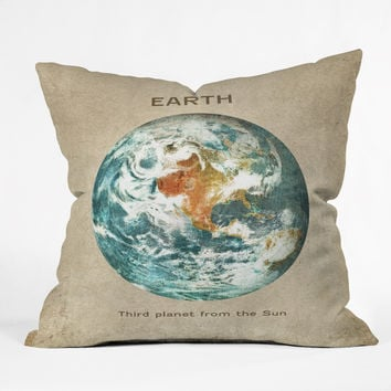 Terry Fan Planet Earth Throw Pillow