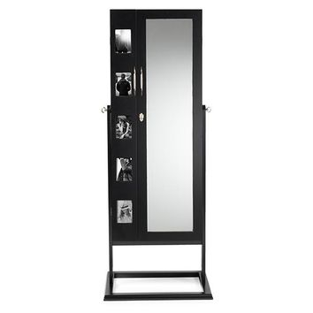Baxton Studio Vittoria Black Finish Wood Square Foot Floor Standing Double Door Storage Jewelry Armoire Cabinet  Set of 1