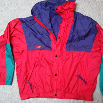 Vintage Men's Columbia Wintertrainer Two Piece Hard Shell Neon Jacket With Zip Out Fleece Jacket Parka Medium