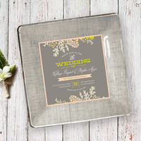Personalized Wedding Gift using Wedding Invitation - Keepsake Decoupage Plate - for Couples - gray neutral