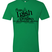 Happy Irish Christmas Favorite Alcholiday funny st patricks  Day Tshirt