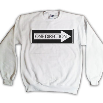 "One Direction ""One Way Sign"" Sweatshirt - White - All Sizes Available - 1D Sweater"