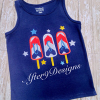 USA patriotic Popsicle 4th of July shirt red by AfterNineDesigns