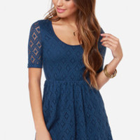 Roxy Out There Blue Lace Dress