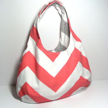 Reversible Hobo Bag - Coral Hobo Bag - Gray Hobo Bag - Hobo Purse - Shoulder Bag - Customize Bag - Slouchy Hobo Bag - Chevron Hobo Purse