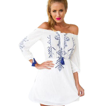 White Porcelain Print Off-shoulder Mini Dress