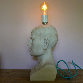 Phrenology Head Table Lamp Bust Statue Skull Reading Light Rustic Dorm Office Gift Pseudo Science Fowler Brain Modern Bare Bulb-MySecretLite
