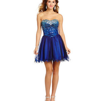 Masquerade Sweetheart Ombre Sequin Mesh Dress | Dillard's Mobile