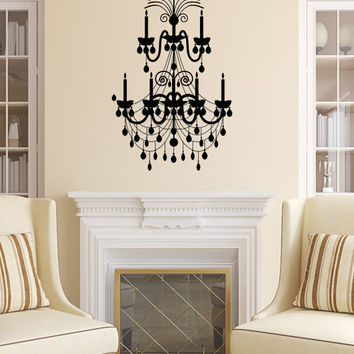 Chandelier Wall Decal Vinyl Sticker Decals Art Home Decor Mural Chandelier Light Vintage Candles Living Room Nursery Bathroom Dorm AN485