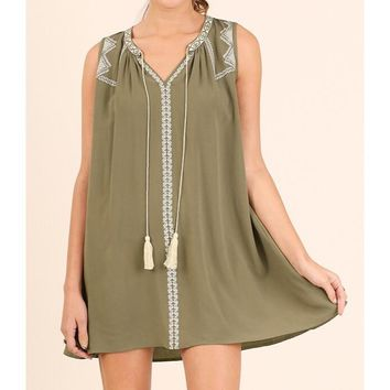 Umgee Embroidered Olive Green Shift Dress