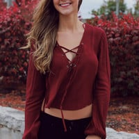 Crossing Grounds Crop Top - Burgundy