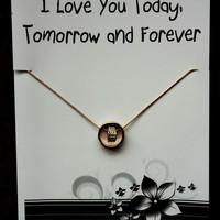 FREE SHIPPING Love You Today, Tomorrow and Forever Heart Gift Valentine's Day Woman Pendant Necklace