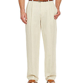 Caribbean Casual Pleated Pants - Natural