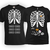 Matching Halloween Couple T Shirts Gifts For Expecting Mothers Skeleton TShirt His And Her Shirts Daddy To Be Mother To Be MAT-21-168