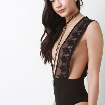 Deep V Scallop Lace Bodysuit