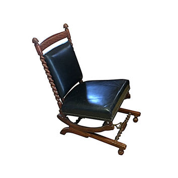 1880s Sliding Rocking Chair, Leather & Wood Victorian Furniture