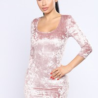 Make Me Smile Velvet Dress - Mauve