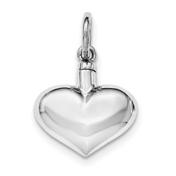 Sterling Silver Rhodium-plated Polished Puffy Heart Ash Holder Pendant QC8400