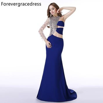 Forevergracedress Real Picture Royal Blue Prom Dress New Style One Shoulder Sleeve Crystal Long Formal Party Dress Plus Size