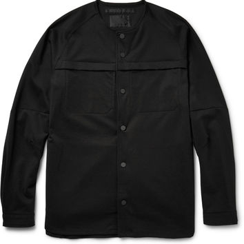 White Mountaineering - Collarless Cotton-Blend Ponte Shirt Jacket | MR PORTER
