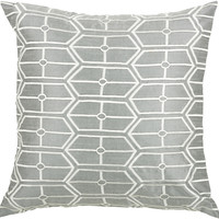"Embroidered Gray Pillow Cover (18"" x 18"")"