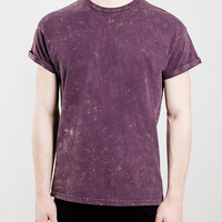 PINK ACID WASH ROLLER T-SHIRT